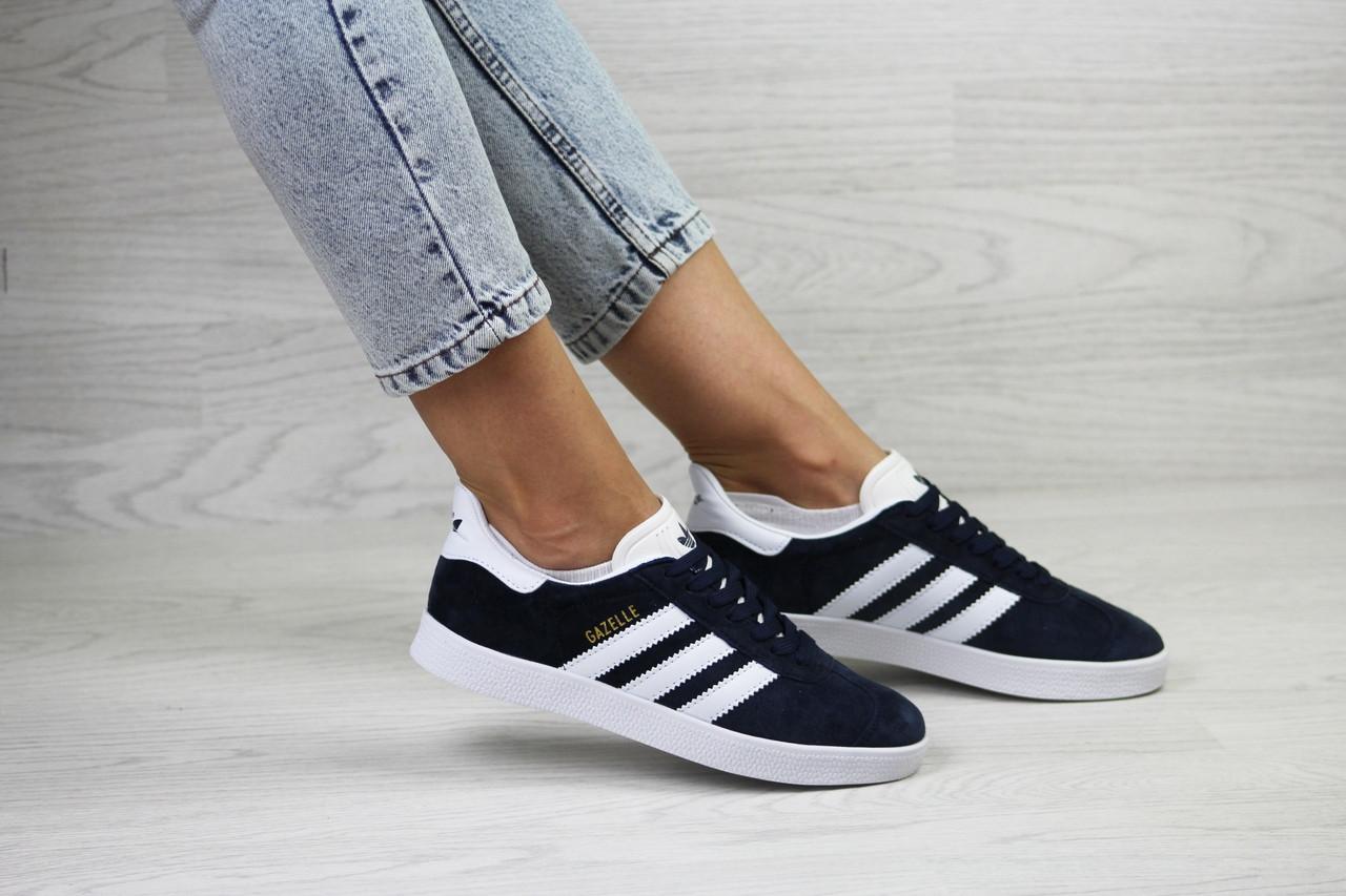 Женские кроссовки Adidas Gazelle,замшевые,темно синие с белым