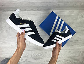 Женские кроссовки Adidas Gazelle,замшевые,темно синие с белым, фото 2