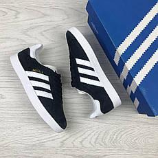 Женские кроссовки Adidas Gazelle,замшевые,темно синие с белым, фото 3