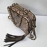 Женская бежевая сумочка на цепочке из питона, фото 2