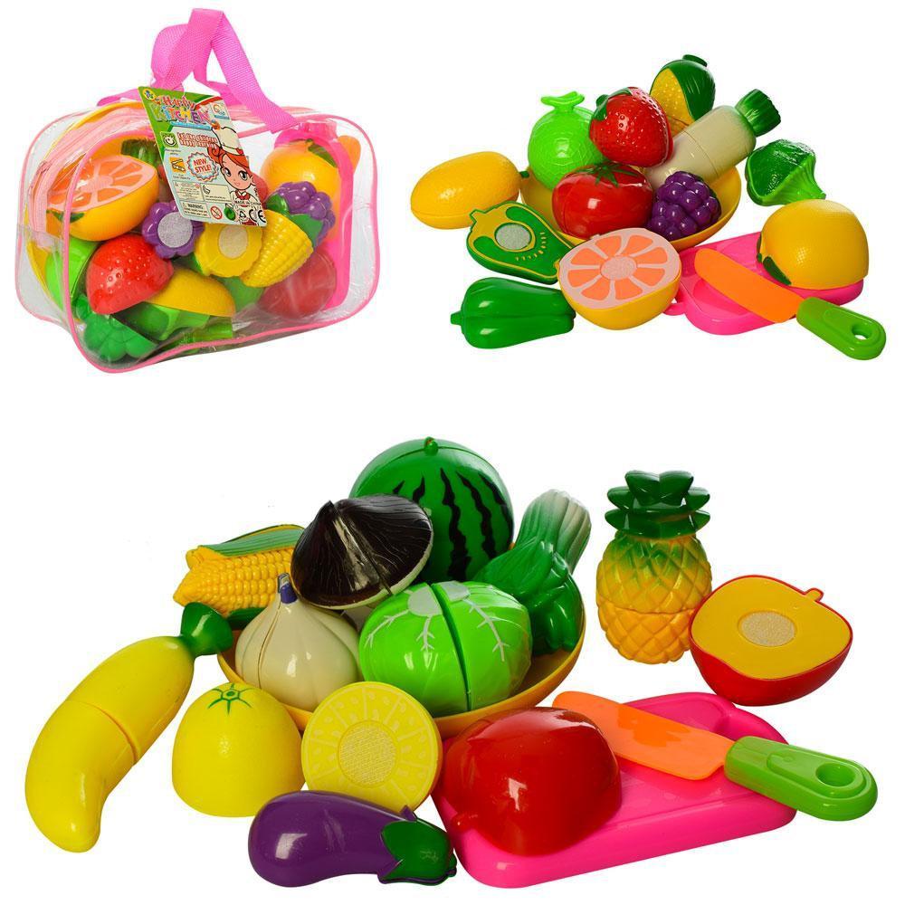 Детский набор фрукты и овощи на липучке с досточкой и ножом