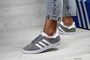 Женские кроссовки Adidas Gazelle,замшевые,серые с белым, фото 2