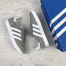 Женские кроссовки Adidas Gazelle,замшевые,серые с белым, фото 3