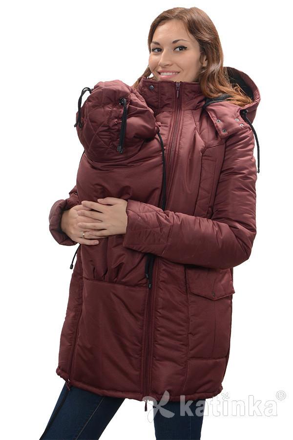 Зимняя куртка для беременных и слингоношения 4в1, бордовая