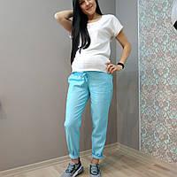 Брюки лен для беременных голубые 2626-5, фото 1