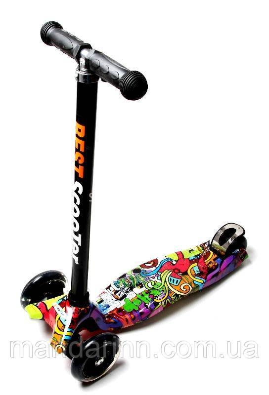 Детский самокат MAXI. Graffiti Hip-Hop. Светящиеся колеса!