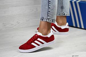 Женские кроссовки Adidas Gazelle,замшевые,красные, фото 2