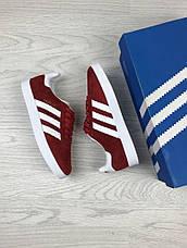 Женские кроссовки Adidas Gazelle,замшевые,красные, фото 3