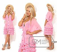 Пляжная накидка с оборками, розовый