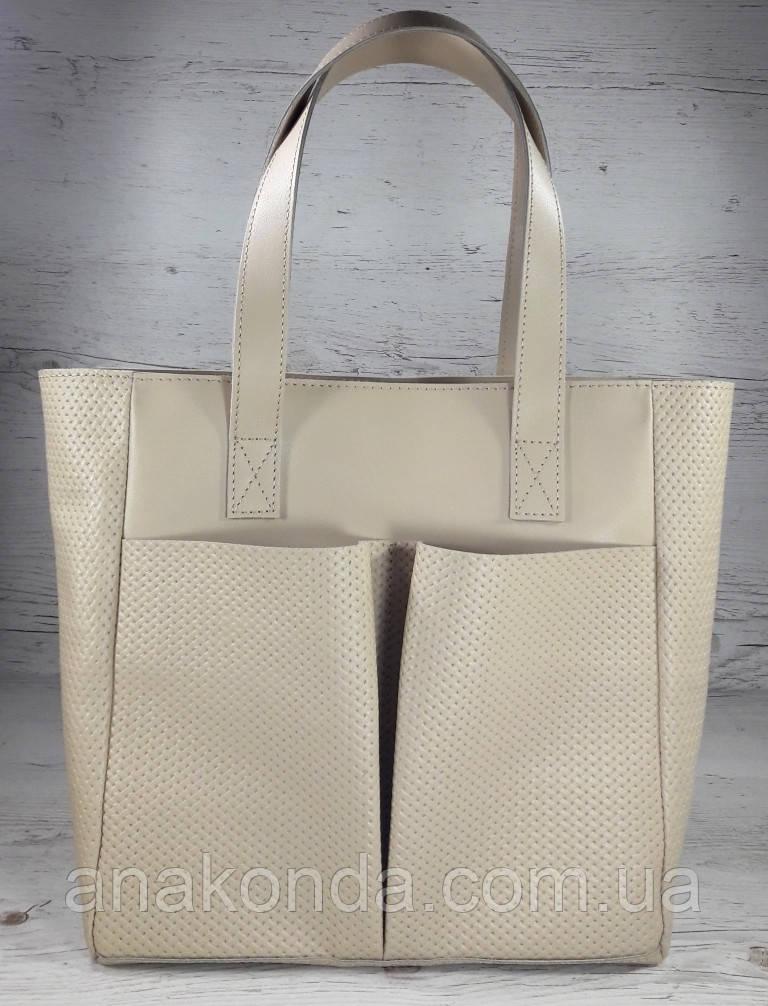 532-2 Сумка женская натуральная кожа на подкладке и молнии, бежевая  Экрю Молочная Светлая кожаная сумка