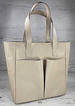 532-2 Сумка женская натуральная кожа на подкладке и молнии, бежевая  Экрю Молочная Светлая кожаная сумка, фото 2