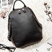 Рюкзак женский из натуральной кожи городской черный, фото 1