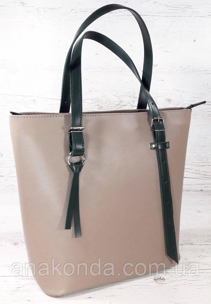 634 Натуральная кожа, Сумка-тоут трапеция женская кожаная сумка бежевая, женская сумка кожаная бежевая