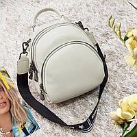 Рюкзак мини женский мятный из натуральной кожи, фото 1