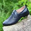 Туфлі літні шкіряні чоловічі темно сині (код 149) - туфлі чоловічі шкіряні літні темно сині