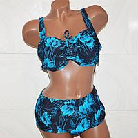 Большой купальник, 62 размер, раздельный для пышного бюста, черный с синими цветами
