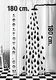 Шторка для ванной комнаты Shower curtain, однотонная голубая. Размер 180х180 см., фото 10