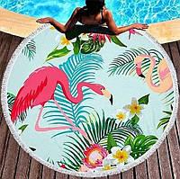 Пляжные полотенца-подстилки с  рисунками экзотичных птиц (диаметр 150 см)