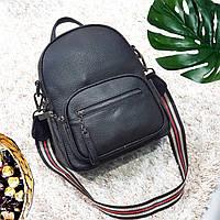Стильный черный рюкзак из натуральной кожи, фото 1