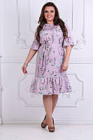 Цветное красивое летнее элегантное платье больших размеров с воланами на рукавах и юбке. Арт-4159/32, фото 1