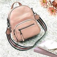 Стильный розовый рюкзак из натуральной кожи, фото 1