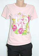 Футболка женская стильная, качественная хлопковая, приталеная розовая, единорог Жіночі футболки