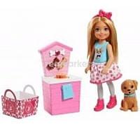 Кукла Барби Barbie сестра Челси блондинка щенок Стенд