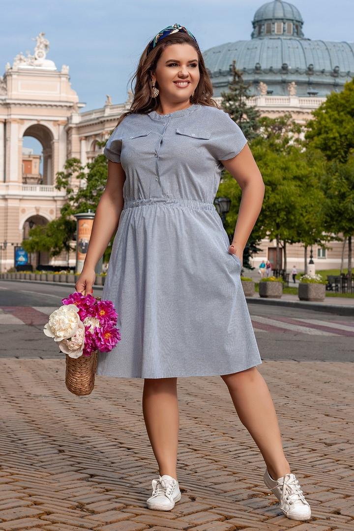 Платье женское летнее с резинкой на талии большие размеры