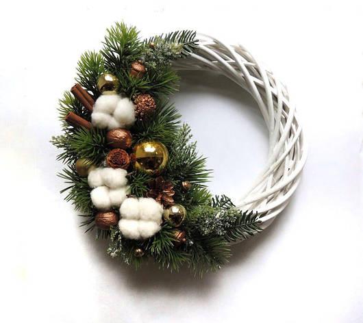 Новогодний рождественский венок с натуральным декором 32 см Зеленый (9590040IK), фото 2