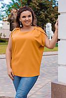 Женская летняя свободная шифоновая батальная блуза с коротким рукавом (р.48-58).  Арт-4189/32