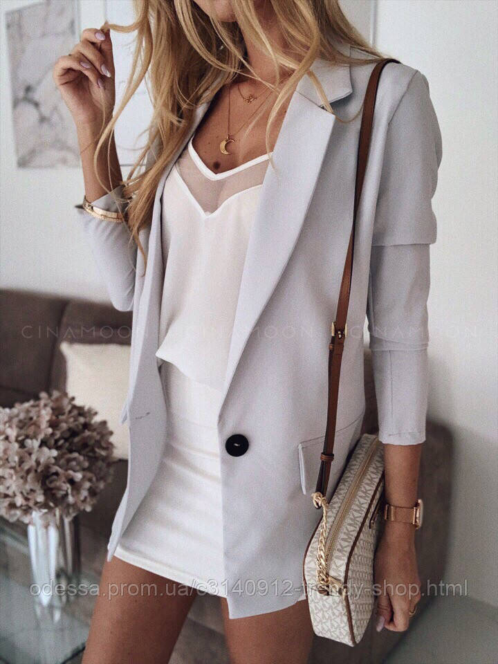Пиджак женский стильный летний серый желтый розовый персиковый