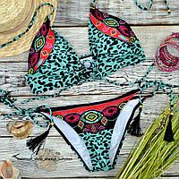 Леопардовый женский раздельный купальник