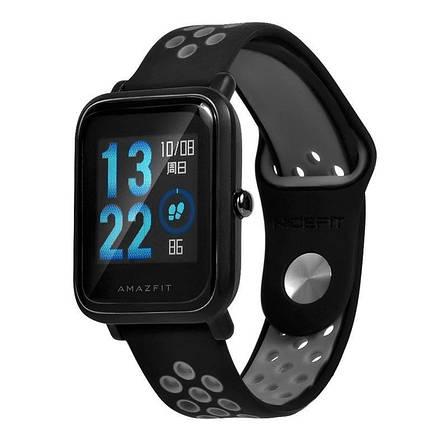 Ремешок BeWatch sport-style 20 мм для смарт-часов Xiaomi amazfit BIP Черно-Серый (1010114), фото 2