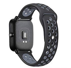 Ремінець BeWatch sport-style 20 мм для смарт-годин Xiaomi amazfit BIP Чорно-Сірий (1010114), фото 2