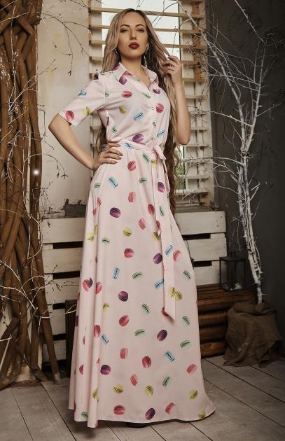 """Платье макси на пуговицах """"Стефания"""" размер 42,46 розовое"""