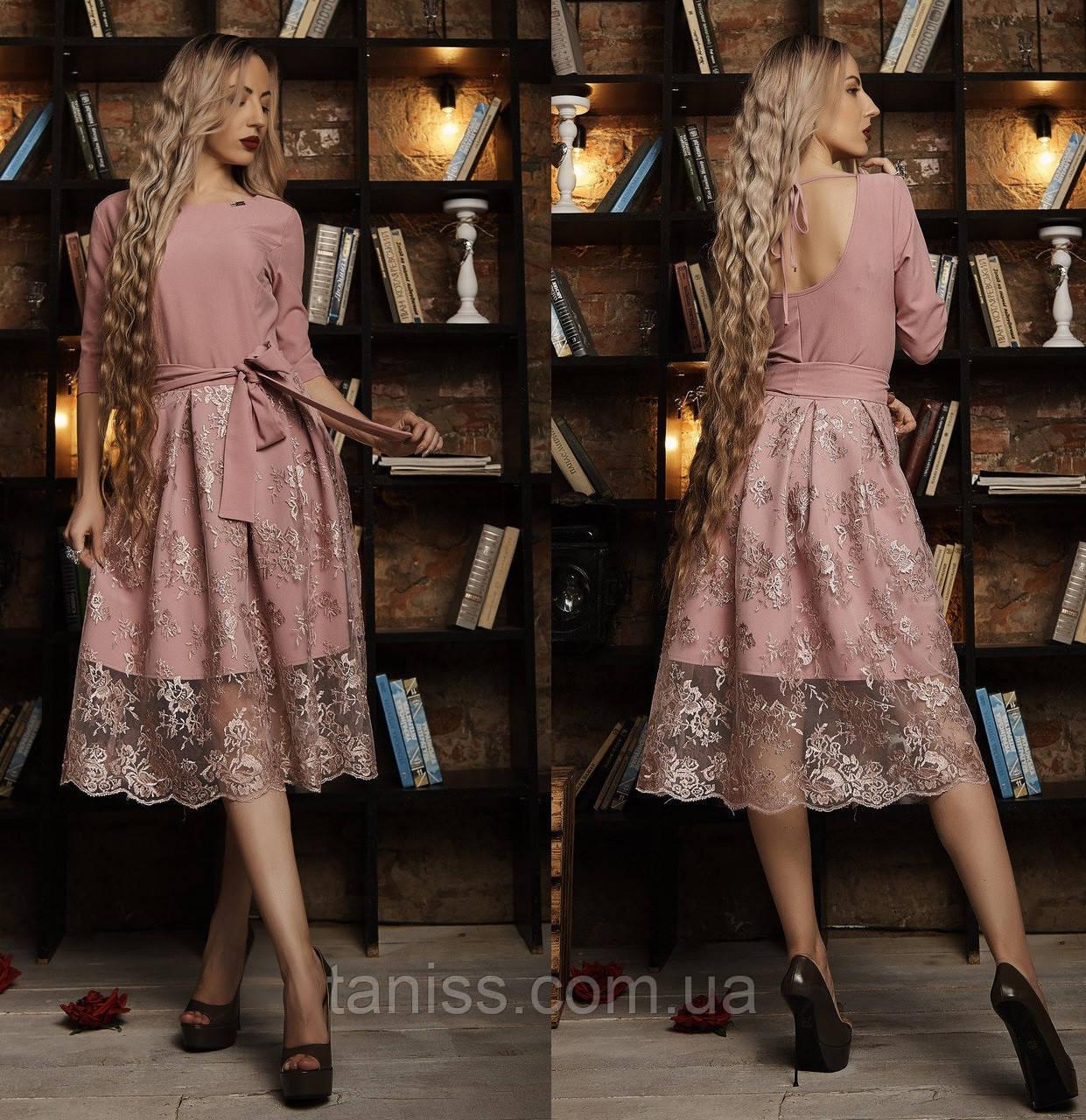 Ошатне шикарне плаття, італійська костюмка і дороге мереживо, р. 44,46,48 фрезовий (588)