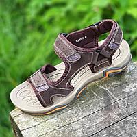 Босоножки мужские спортивные кожаные на липучках (Код: Т1502)