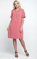 Платье больших размеров женское летнее из костюмной ткани (батальное), пудра
