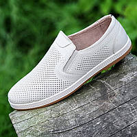 Мужские летние повседневные туфли кожаные в дырочку бежевые (Код: Т1495)