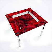 Обеденный стол стеклянный (фотопечать) Квадратный с полкой Rose от БЦ-Стол
