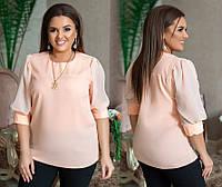 Жіноча стильна елегантна батальна блуза з шифоновими рукавами 3/4 (розміри 48-58). Арт-4194/32, фото 1