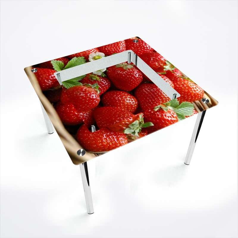 Обеденный стол стеклянный (фотопечать) Квадратный с полкой Strawberry от БЦ-Стол 700х700 *Эко
