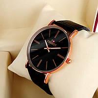 Тонкие кварцевые наручные часы Tissot (Тисот) на кожаном ремешке, черный циферблат с метками, красное золото