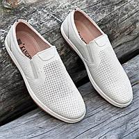 Мужские летние повседневные туфли кожаные в дырочку бежевые (Код: Т1495а)