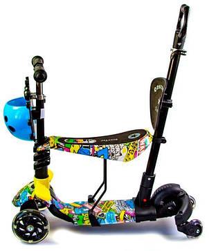 Самокат детский ScooTer 5в1 Божья Коровка Graffity четырехколесный (Разноцветный), фото 2