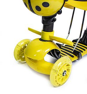 Самокат детский ScooTer 5в1 Божья Коровка с Родительской ручкой и Сиденьем (Желтый) - Самокаты, фото 3