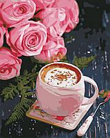 """Картина по номерам """"Кофе и розы"""" 40*50см"""