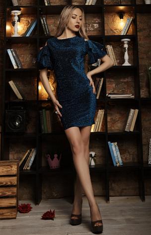 """Платье  """"Эльза"""" размер 46,48 синее, фото 2"""