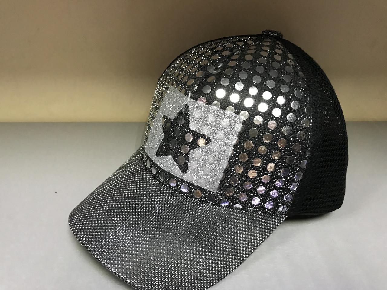 Бейсболка для девочек подростков из люрексовой ткани и сетки цвет серебро с черным