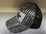 Бейсболка для девочек подростков из люрексовой ткани и сетки цвет серебро с черным, фото 2